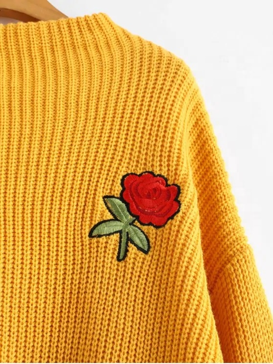 king young loose fit wholesale yellow Rose Embroidered Lantern Sleeve knitted latest design ladies sweater