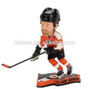 Resin hockey player bobblehead