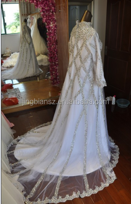 Real sample Arabic long sleeve high neck Full crystal long sleeve plus size fashion muslim wedding dress #OW123