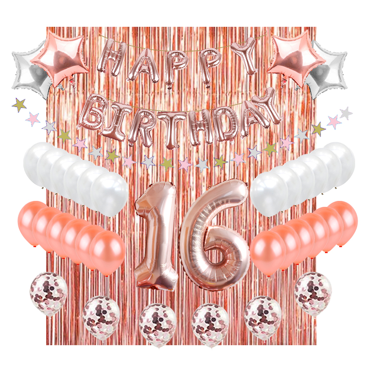 Rose Gold 16th Birthday Decorations Party Supplies Sweet 16 Balloons