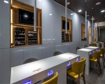 Customized Layout Nail Bar Store Showcase For Nail Bar Interior