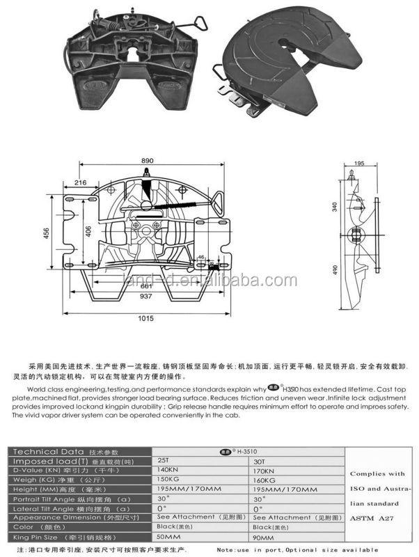 Semi Trailer Components : High quality kingpin fifth wheel used trucks parts semi
