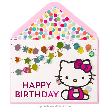 Cute Handmade Birthday Greeting Card Cartoon Design For Kids Gift