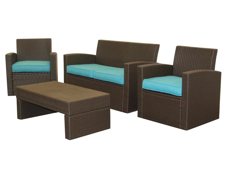 Get Quotations · EPatio Resin Wicker Patio Loveseat Set   Aqua Blue Cushions