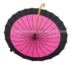 Candy color big outdoor wood sun umbrella wholesale