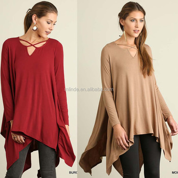 0017b4786ec2a Crisscross Strap Accent Solid Knit TRAPEZE TOP Latest Fashion Long Top  Design Girls Long Tops For