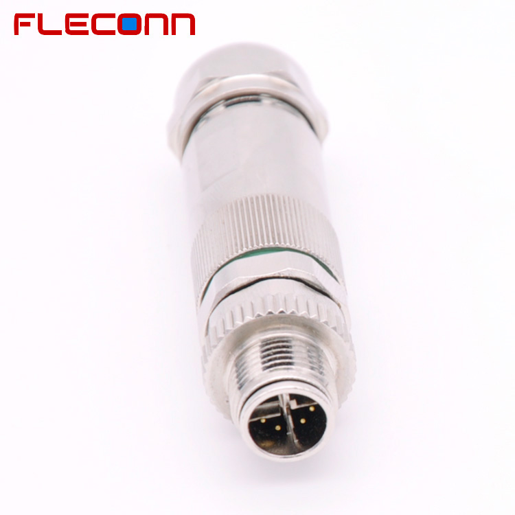 IP67 Metal Shell Industry Ethernet Cat.6A 8 Pin Male M12 X Code Connector