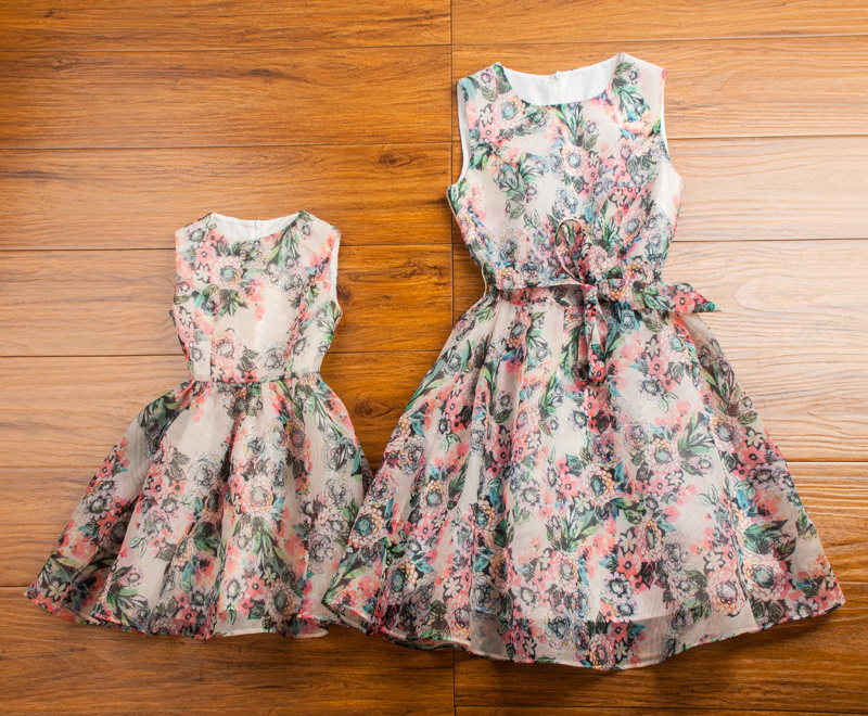 Clothes for mother and daughter summer 2015 family fashion summer sleeveless repair gentlewomen floral print skirt