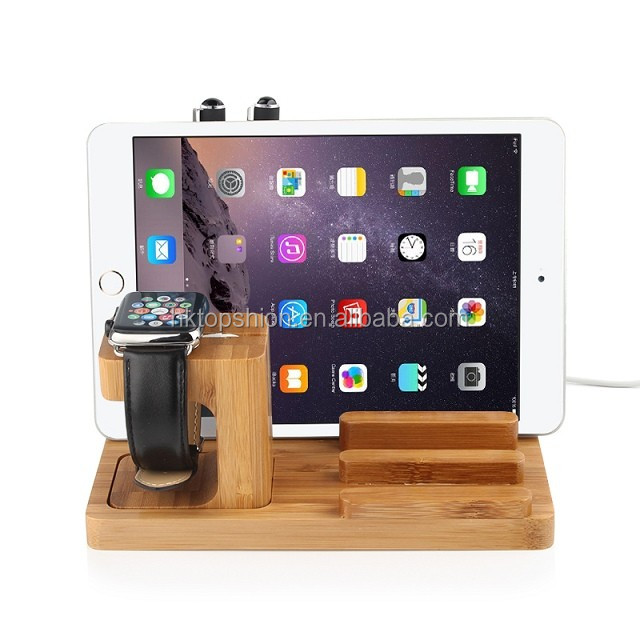 Multi function 3 in 1 wood stand holder for tablet/phone/smart watch, China supplier