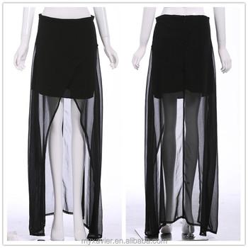 Vestidos cortos con falda larga transparente