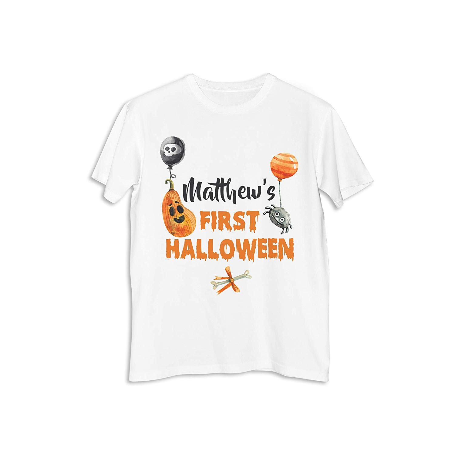 dd3a0a25c82 Get Quotations · Personalized First Halloween Pumpkin Baloon Tee Shirt  Happy Halloween Party Printed Shirt