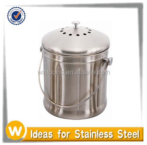 1.5 Gallon Stainless steel compost pail with Charcoal Filter