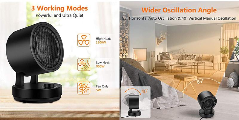 ESC-QG20-T7 Electric Living Mini Room Heater With Fan