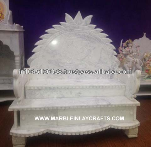 Pure White Marble Mandir for Home
