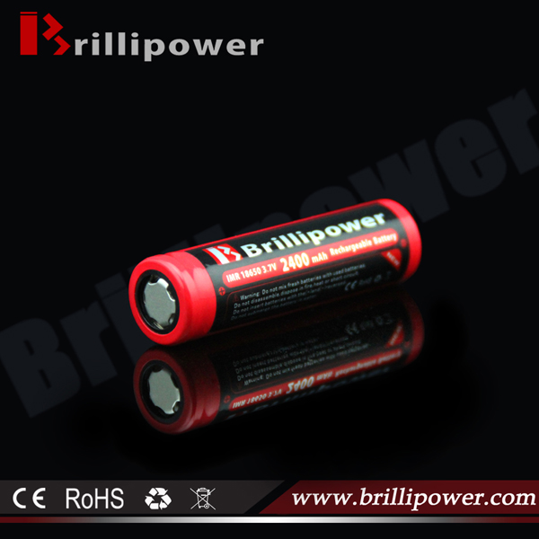 Brillipower new design 18650 li ion rechargeable battery 3.7v 2400mah lithium battery for e-cig mods