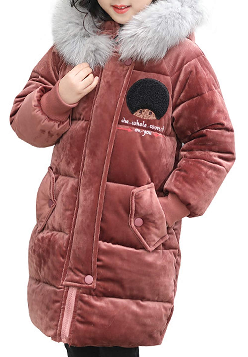 72d3f85cac1 Get Quotations · Child Kid Girl Simple Solid Hooded Thick Winter Parka Mid  Long Inner Cotton Puffer Padded Jacket