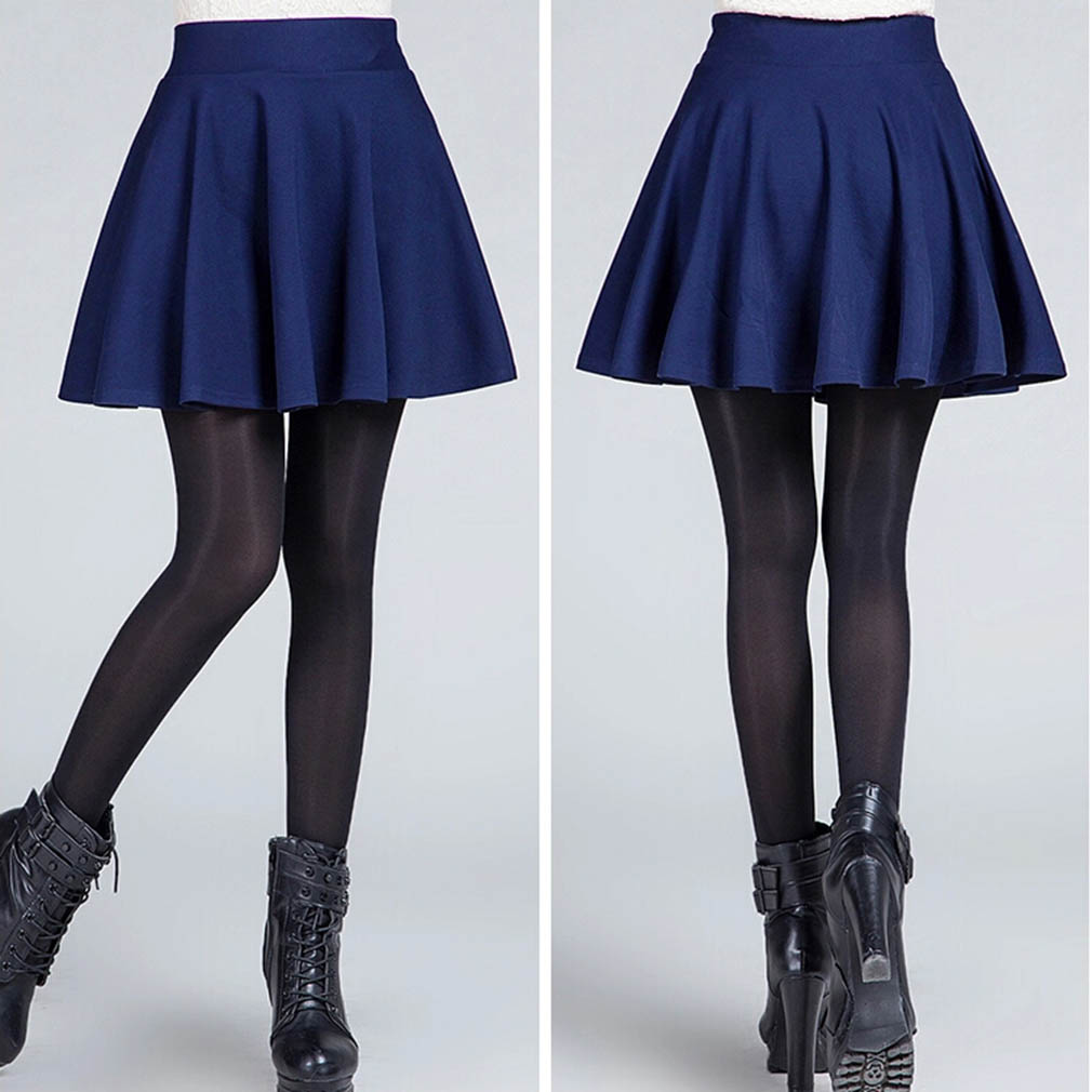 Sexy Women s Stretch High Waist Plain Skater Flared Pleated Casual Cotton Mini short Skirt 2016