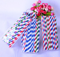 Red Striped Drinking Straws Individually Paper Wrapped Paper Drinking Straws Packed in PVC or Paper Box