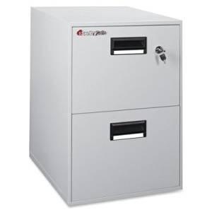 Sentry Safe Vertical Fire File Cabinet - 21quot; x 27.8quot; x 18.3quot; - 2 - Legal, Letter - Label Holder, Recessed Handle, Key Lock, Water Resistant, Fire Resistant - Putty