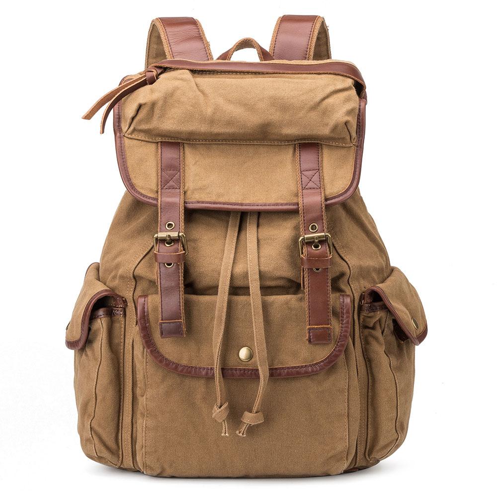 2017 High Quality Custom Printing Vintage Rucksack Canvas Drawstring Backpack