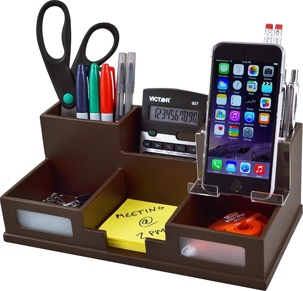 Acrylic wood grain Desk Organizer with Smart Phone Holder
