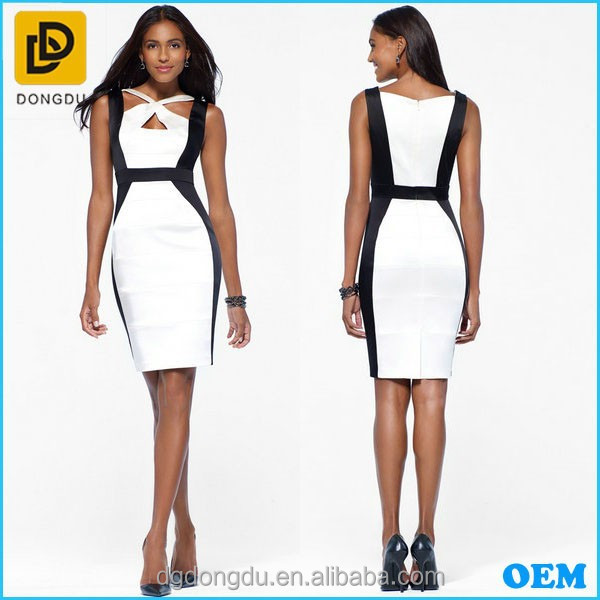 2016 Latest Design Ladies Colorblock Satin Dress