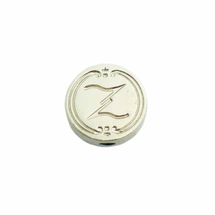Zinc alloy engraved logo custom made metal bead charms pendants jewelry tags
