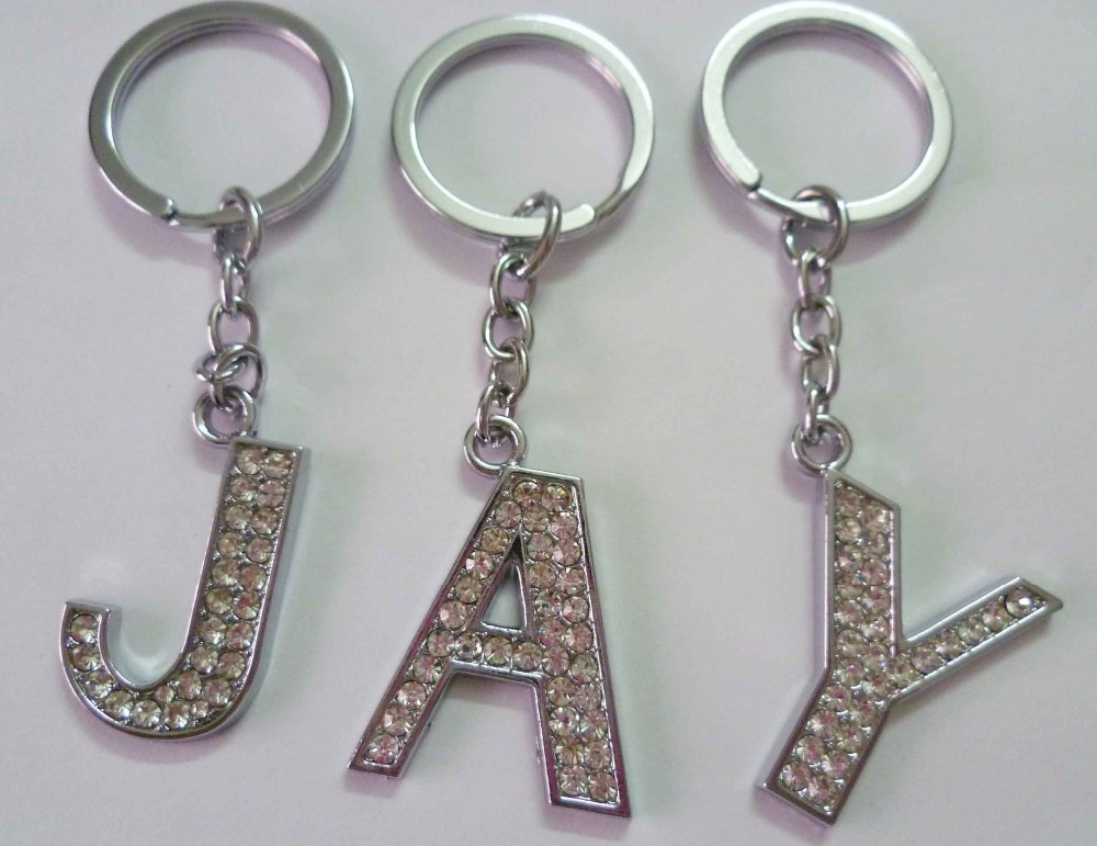 Fashion rhinestone letter j keychain wholesale