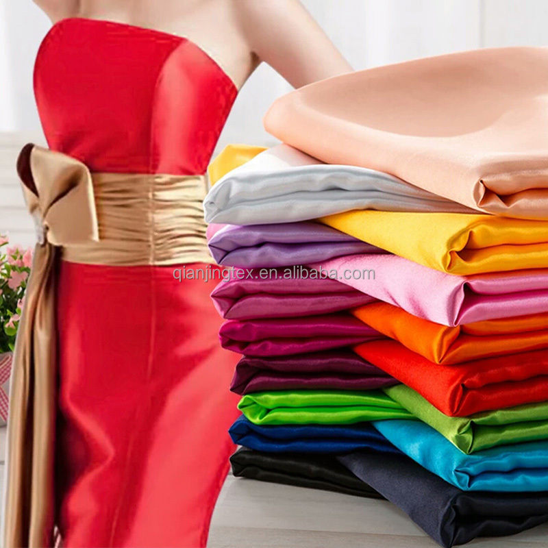 High quality shiny surface 94% polyester 6% spandex stretch satin fabric 125 colors