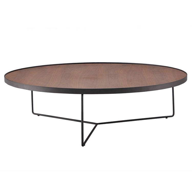 New Design Wooden Round Tea Table Coffee Table Metal Legs For