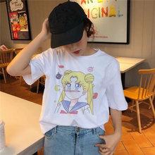 Sailor Moon Футболка Harajuku женская футболка с принтом Милая футболка Ullzang Kawaii женская футболка с коротким рукавом Графический Летний топ футболки(China)