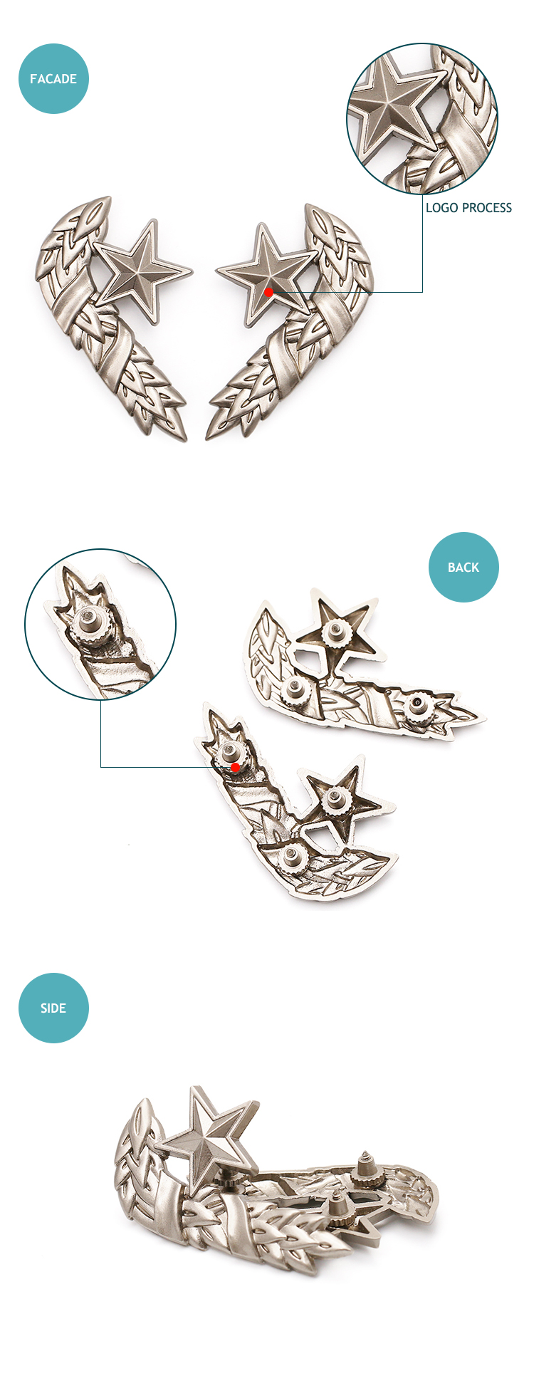 Military award pins pair custom top quality  die casting silver lapel pins