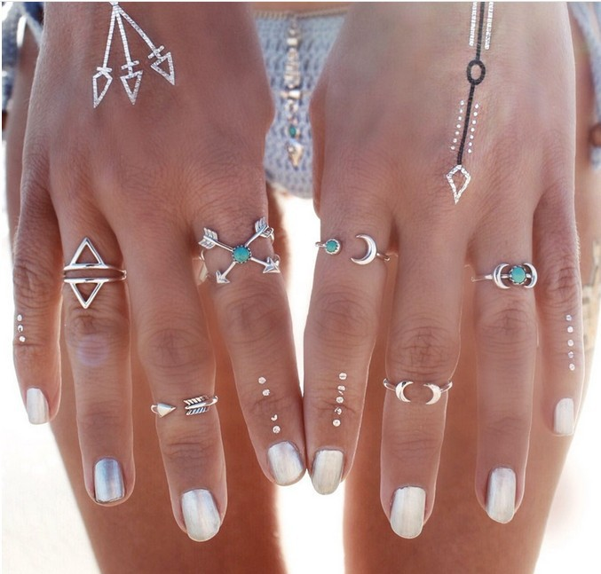 6PCS Boho Beach Top Sales Jewelry Moon Arrow Green Turquoise Rings For Women Bohemian Knuckle Rings Set