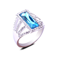 Luxury Wedding CZ Crystal Engagement Ring Bands Large Rectangular Blue Zircon Rings Platinum Plating Finger Ring Jewelry