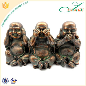 Bronze Hy Buddha See No Evil Hear Say Chinese Sculpture