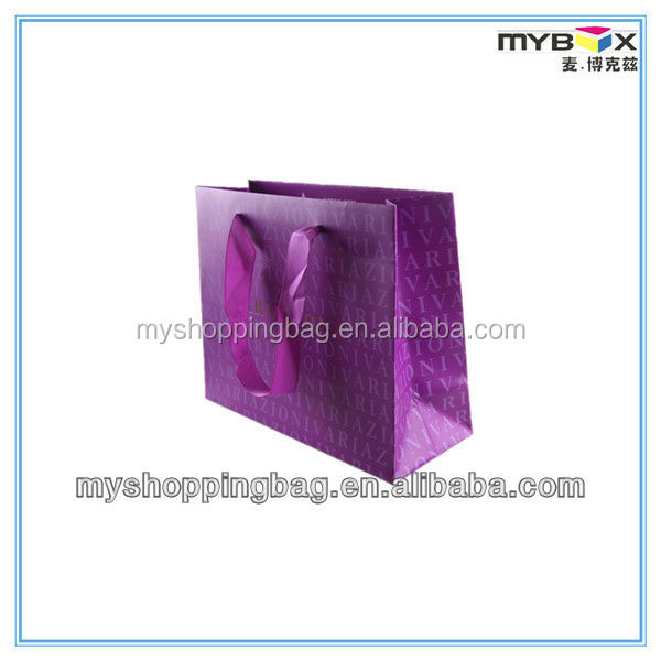 Purple stylish art paper bag fashionable stylish bag for women with handles