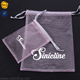 Sinicline cosmetics pink color white logo china supplier customs cheap organza bags