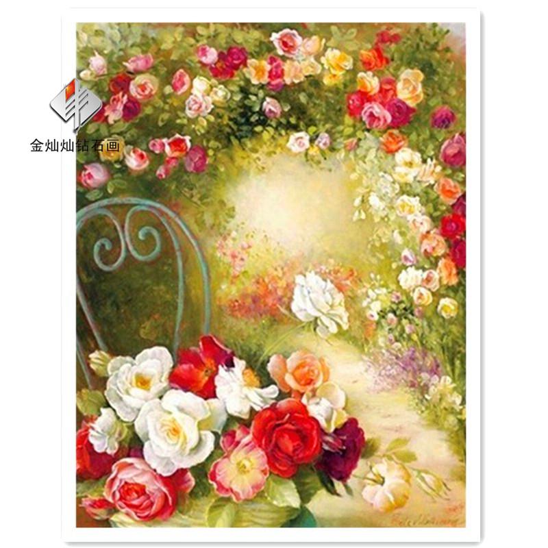 Wholesale DIY Diamond Paintings <font><b>Elegant</b></font> pink roses <font><b>Home</b></font> <font><b>Decoration</b></font> Rhinestone Wall Stickers Embroidery Needlework
