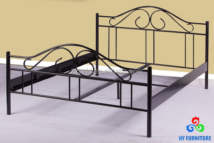 Heavy duty used bedroom set double size metal tube bed frame wholesale