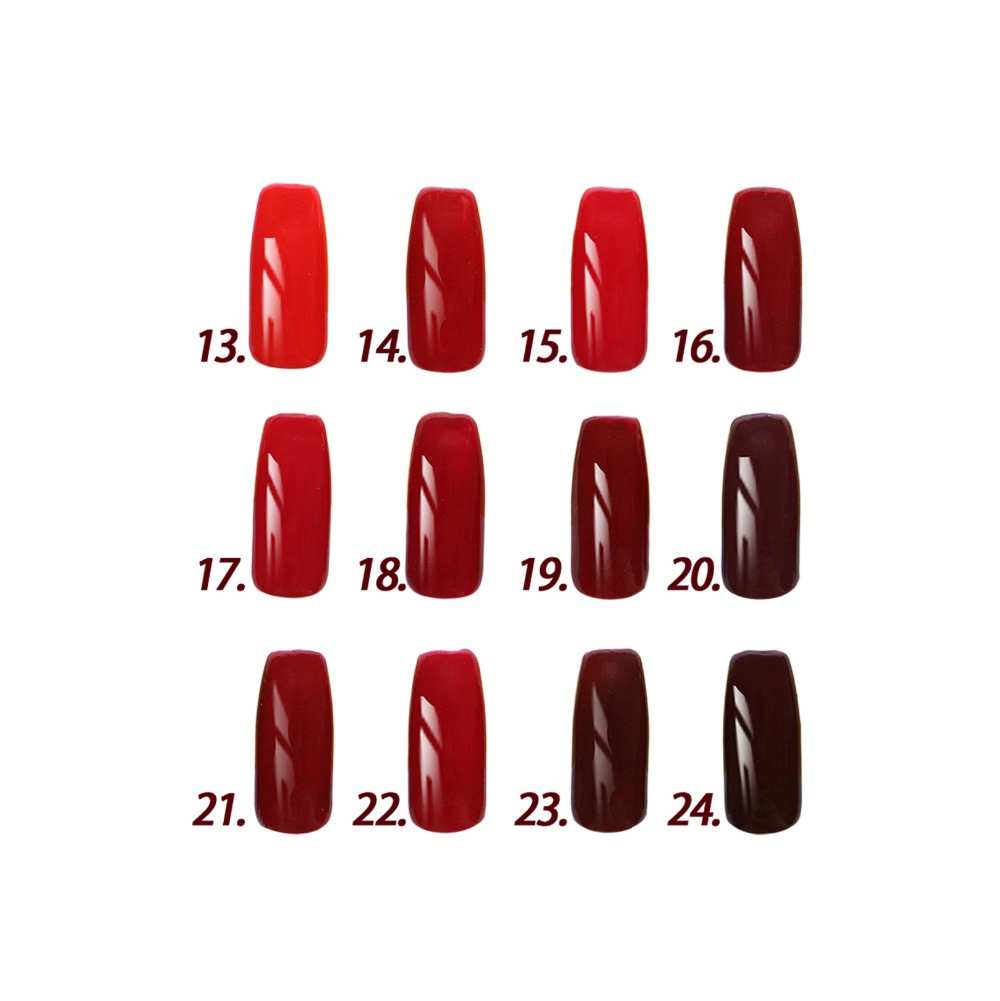 Free shipping 12pcs Inail UV red color Gel Nail Polish 15ml 16 colors for choice Red