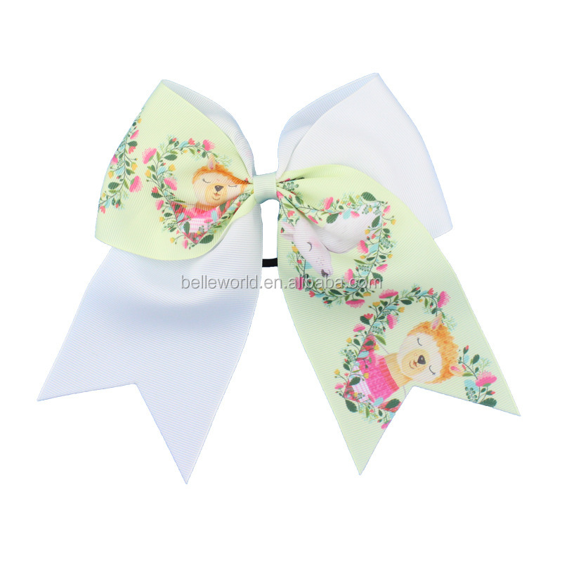 8 inch cute alpaca star big knot bow hair ties