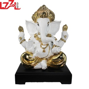 Wholesale Ganesh Gifts Full hand-painted Silver Resin Hindu Ganesha