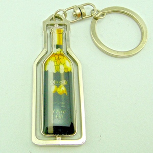 Wholesale cheap beer bottle metal blank rotating keychain with emoji image