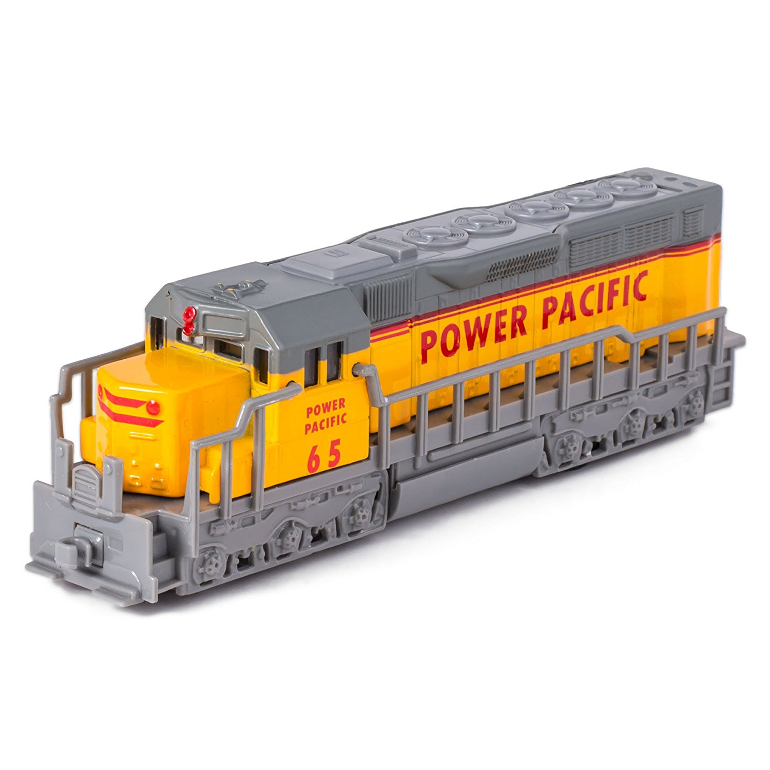 "7"" Yellow Die Cast Freight Train Locomotive Toy with Pull Back Action"