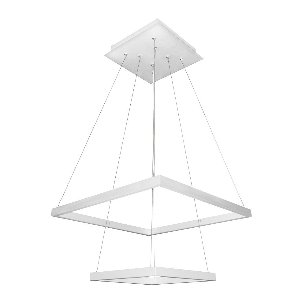 "VONN VMC31720SW Modern Two-Tier Square LED Chandelier Lighting with Adjustable Hanging Light, 19.69"" x 19.69"" x 11.81"", White"