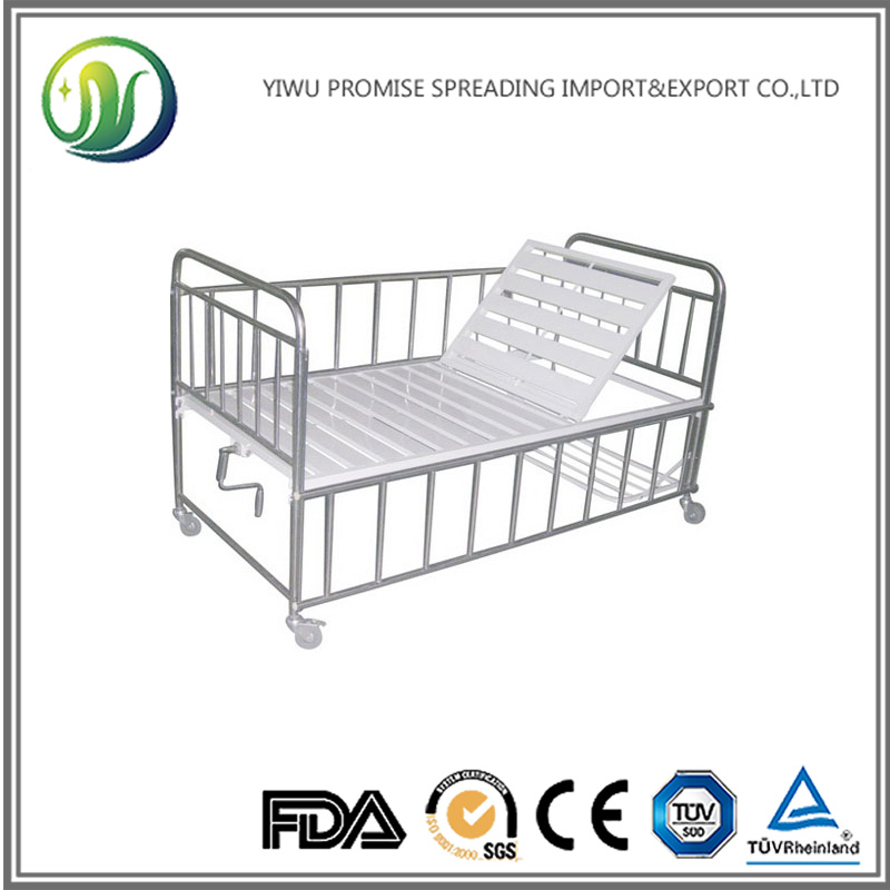 Manual Pediatric Hospital Children Bed with Adjustable Backrest and Siderails