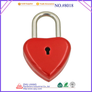 Factory wholesale High End Quality Colorful Love lock Heart Shaped Padlock