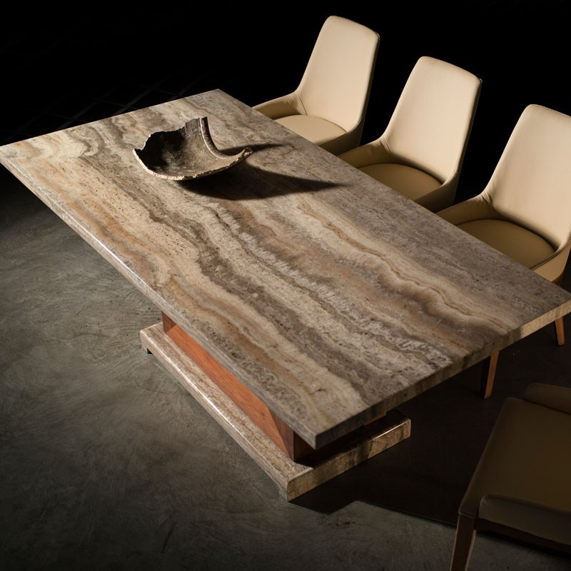 Fashion Chinese Style Wood Marble Stone Dining Table Design For Home Use