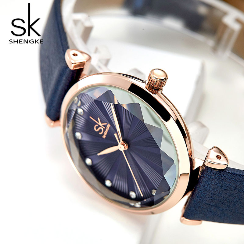 Shengke Ladies Dress Watches Luxury Diamond Women's Watch Leather Wrist Watches Gift For Wife Montre Femme Girls Hour Hot Sale фото