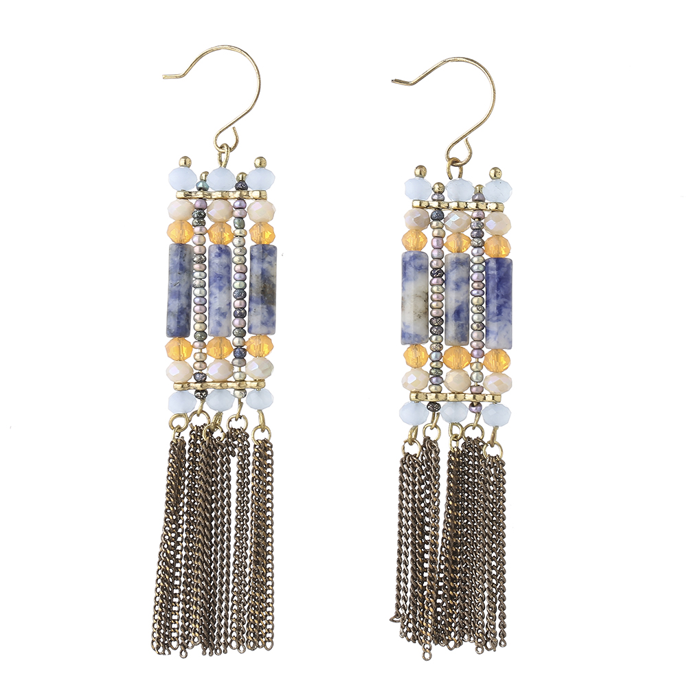 gem jewelry 2017 Europe style long chain fringe hanging earring Yiwu manufacturer